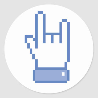 facebook like ROCK peace hand sign pixel graphic Classic Round Sticker