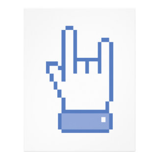 facebook like ROCK peace hand sign pixel graphic Letterhead