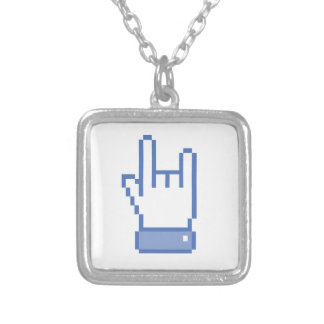 facebook like ROCK peace hand sign pixel graphic Necklace