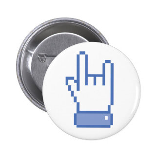 facebook like ROCK peace hand sign pixel graphic Pinback Button
