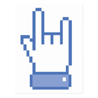 facebook like ROCK peace hand sign pixel graphic Postcard