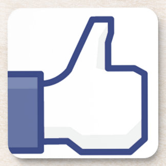 facebook LIKE thumb up Beverage Coaster