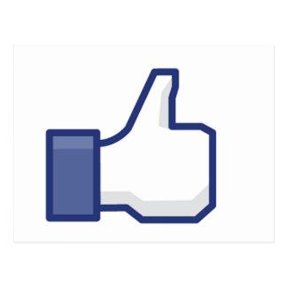 facebook LIKE thumb up Postcard