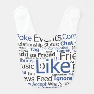 Facebook Like Word Collage Baby Bib