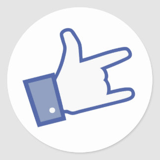 Facebook like You Rock thumb Rock and Roll icon Classic Round Sticker