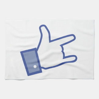 Facebook like You Rock thumb Rock and Roll icon Hand Towels