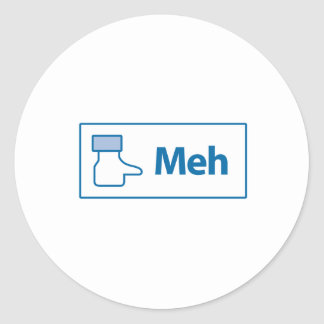 Facebook Meh Classic Round Sticker