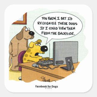 Facebook para los perros pegatinas cuadradas