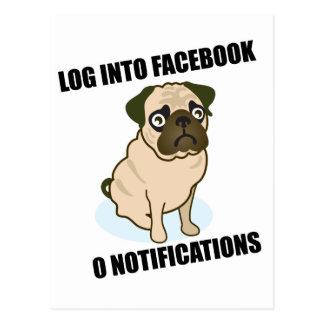 Facebook pug has 0 notifications postcard