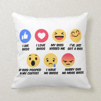 Facebook reaction bird lovers throw pillow