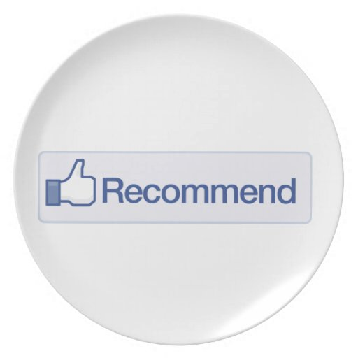 Facebook Recommend Button Funny Graphic Icon Party Plate