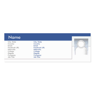 Facebook - Skinny Double-Sided Mini Business Cards (Pack Of 20)