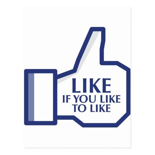 Facebook tiene gusto tarjetas postales