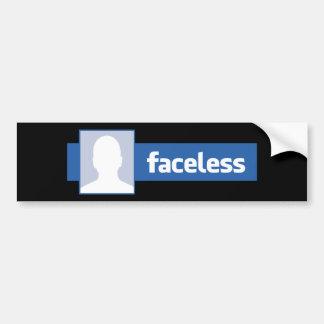 Faceless - Anonymous Profile Pic (Male) Car Bumper Sticker