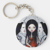 art, fantasy, ghost, japan, japanese, horror, asia, asian, mask, masks, noh, noh mask, ghosts, yokai, bakemono, noppera-bo, noppera-bō, eye, eyes, big eye, big eyed, jasmine, becket-griffith, becket, griffith, jasmine becket-griffith, jasmin, strangeling, artist, goth, gothic, fairy, gothic fairy, faery, fairies, faerie, fairie, lowbrow, Keychain with custom graphic design