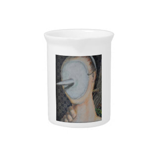 Faceless Mask Portrait Abstract Outsider Art Drink Pitcher