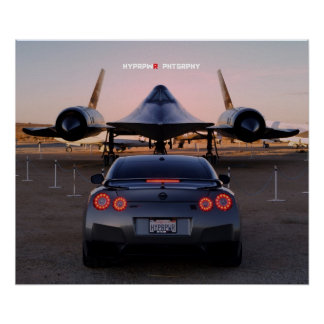 """""""Faceoff"""" Nissan GT-R Taking on a SR-71 Poster"""