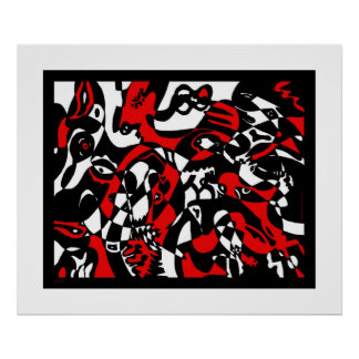"""Faces"" Abstract Art Poster"