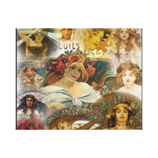 Faces Alphonse Mucha, Wrapped Canvas