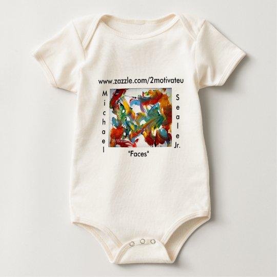 """Faces, """"Faces"""" , www.zazzle.com/2motivateu, Mic... Baby Bodysuit"""