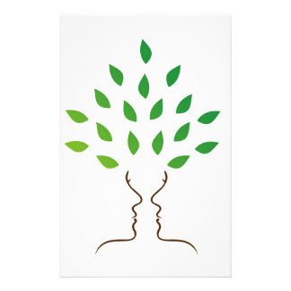 Faces forming a tree stationery