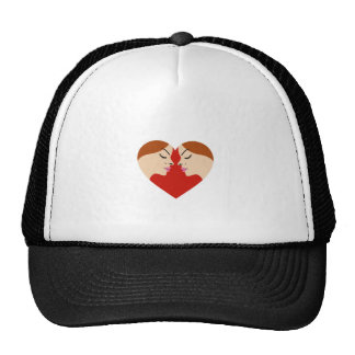 faces in red heart trucker hat