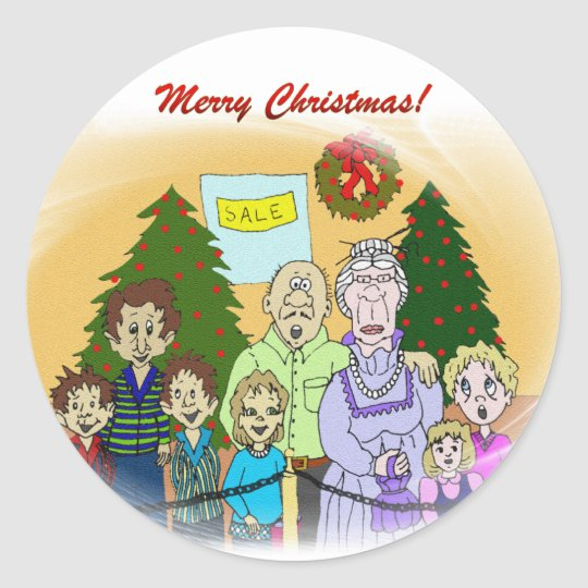 Faces of Christmas III Classic Round Sticker