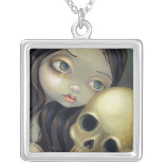 Faces of Faery #126 gothic skull fairy Square Pendant Necklace