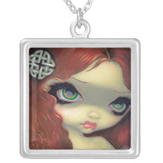 Faces of Faery 152 NECKLACE Celtic Fairy Redhead