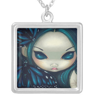 Faces of Faery 17 NECKLACE blue butterfly fairy