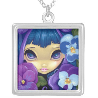 Faces of Faery 84 NECKLACE pansy flower fairy