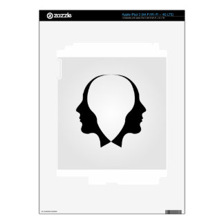 Faces of man in opposite direction decal for iPad 3