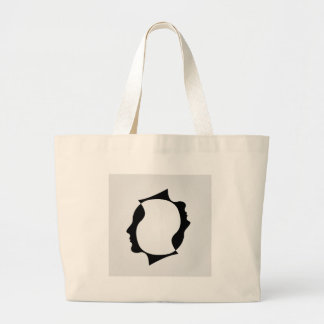 Faces of man in opposite direction large tote bag