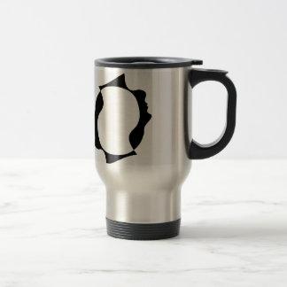 Faces of man in opposite direction travel mug