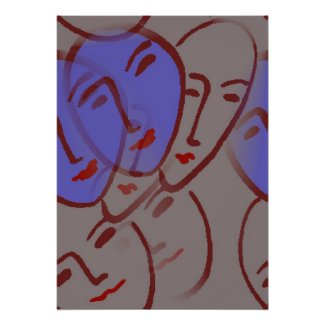 Faces With Blue print