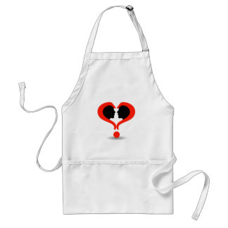 Faces with question marks shaped like heart adult apron