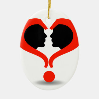 Faces with question marks shaped like heart Double-Sided oval ceramic christmas ornament