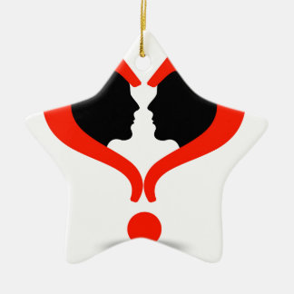 Faces with question marks shaped like heart Double-Sided star ceramic christmas ornament
