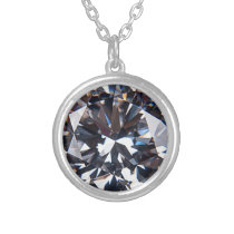 Faceted Elegant Diamond Gem Silver Plated Necklace