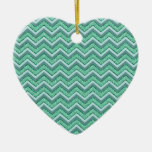 Faceted Emerald Chevron Pattern Christmas Ornament