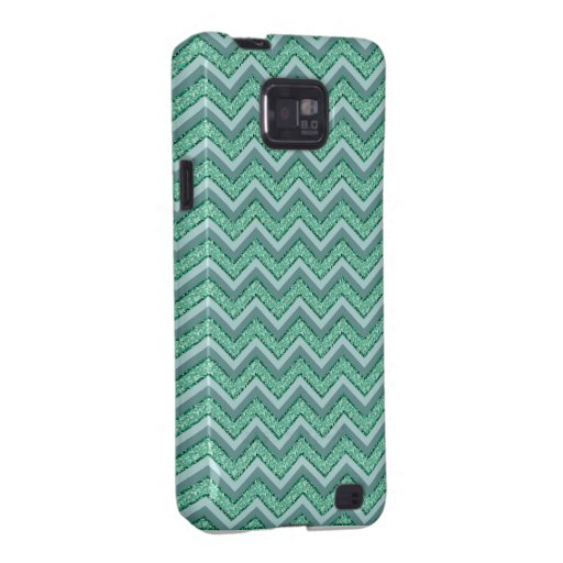 Faceted Emerald Chevron Pattern Galaxy SII Covers
