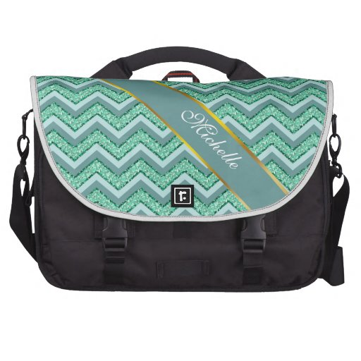 Faceted Emerald Chevron Pattern Bags For Laptop