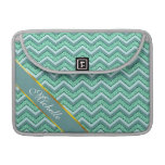 Faceted Emerald Chevron Pattern Sleeves For MacBooks
