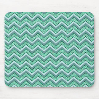 Faceted Emerald Chevron Pattern Mouse Pad