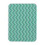 Faceted Emerald Chevron Pattern Rectangle Magnet