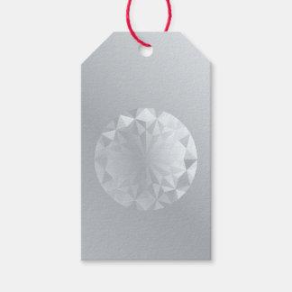 Faceted Gem Aluminium Grey Gift Tags