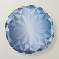 Faceted Gem Blue Ice Round Pillow