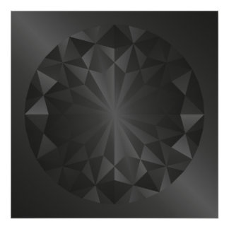 Faceted Gem Charcoal Grey Poster