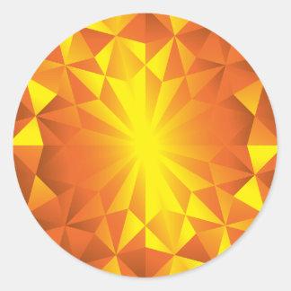 Faceted Gem Yellow Red Orange Classic Round Sticker