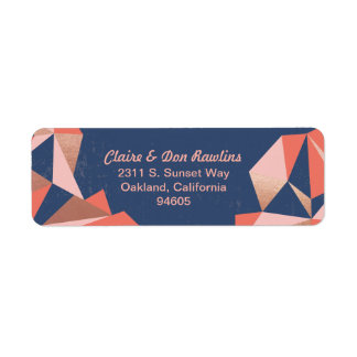 Faceted Geode Modern Geometric Mail Label
